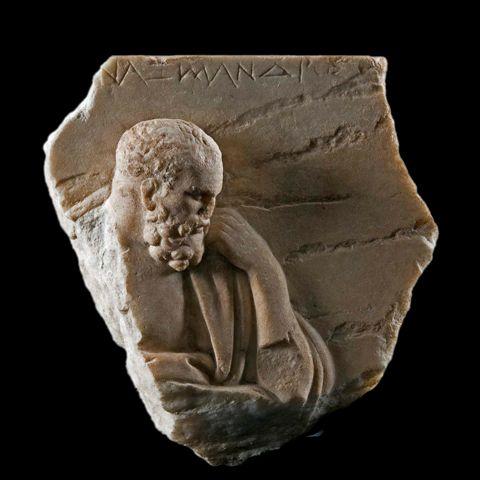Płaskorzeźba prezentująca Anaksymandra (Muzeum Narodowe w Rzymie). Prawdopodobnie rzymska kopia wczesnego greckiego oryginału. Jedyny istniejący wizerunek Anaksymadra z epoki antycznej.